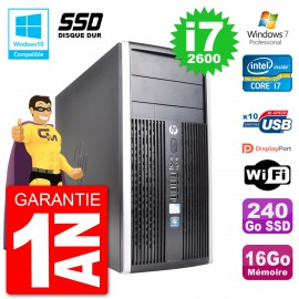PC HP 6300 MT Intel Core i7-2600 RAM 16Go SSD 240Go Graveur DVD Wifi W7