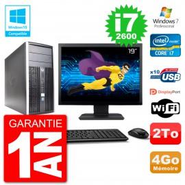 "PC HP 6300 MT Ecran 19"" Core i7-2600 RAM 4Go Disque 2To Graveur DVD Wifi W7"