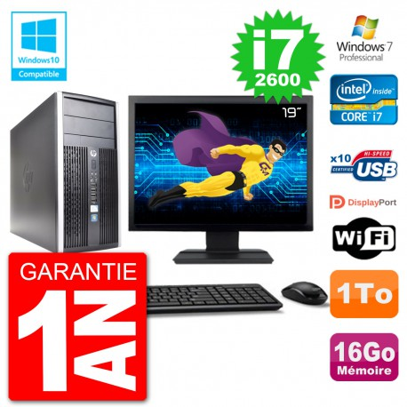 "PC HP 6300 MT Ecran 19"" Core i7-2600 RAM 16Go Disque 1To Graveur DVD Wifi W7"