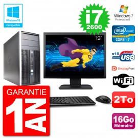 "PC HP 6300 MT Ecran 19"" Core i7-2600 RAM 16Go Disque 2To Graveur DVD Wifi W7"