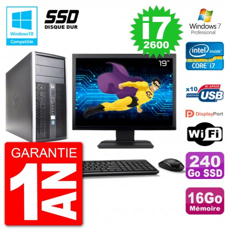 "PC HP 6300 MT Ecran 19"" Core i7-2600 RAM 16Go SSD 240Go Graveur DVD Wifi W7"