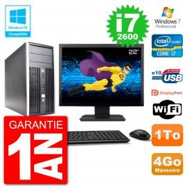"PC HP 6300 MT Ecran 22"" Core i7-2600 RAM 4Go Disque 1To Graveur DVD Wifi W7"