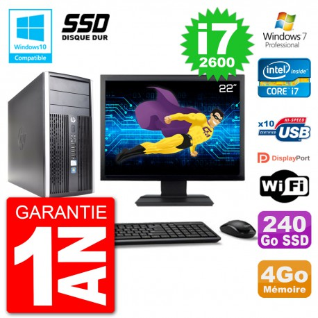 "PC HP 6300 MT Ecran 22"" Core i7-2600 RAM 4Go SSD 240Go Graveur DVD Wifi W7"