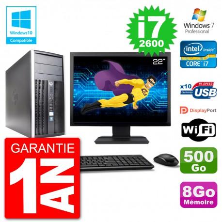 "PC HP 6300 MT Ecran 22"" i7-2600 RAM 8Go Disque 500Go Graveur DVD Wifi W7"