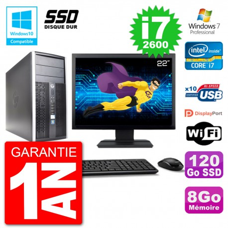 "PC HP 6300 MT Ecran 22"" Core i7-2600 RAM 8Go SSD 120Go Graveur DVD Wifi W7"
