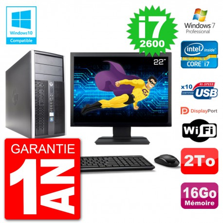 "PC HP 6300 MT Ecran 22"" Core i7-2600 RAM 16Go Disque 2To Graveur DVD Wifi W7"
