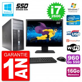 "PC HP 6300 MT Ecran 22"" Core i7-2600 RAM 16Go SSD 960Go Graveur DVD Wifi W7"