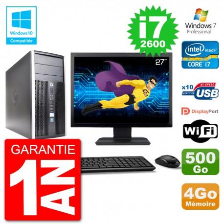 "PC HP 6300 MT Ecran 27"" i7-2600 RAM 4Go Disque 500Go Graveur DVD Wifi W7"