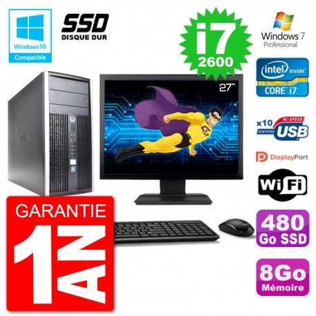 "PC HP 6300 MT Ecran 27"" Core i7-2600 RAM 8Go SSD 480Go Graveur DVD Wifi W7"