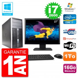 "PC HP 6300 MT Ecran 27"" Core i7-2600 RAM 16Go Disque 1To Graveur DVD Wifi W7"