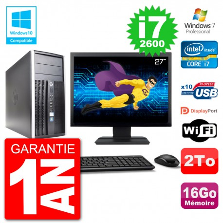 "PC HP 6300 MT Ecran 27"" Core i7-2600 RAM 16Go Disque 2To Graveur DVD Wifi W7"