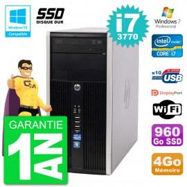 PC HP 6300 MT Intel Core i7-3770 RAM 4Go SSD 960Go Graveur DVD Wifi W7