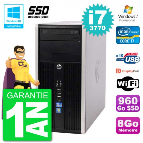 PC HP 6300 MT Intel Core i7-3770 RAM 8Go SSD 960Go Graveur DVD Wifi W7