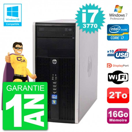PC HP 6300 MT Intel Core i7-3770 RAM 16Go Disque 2To Graveur DVD Wifi W7