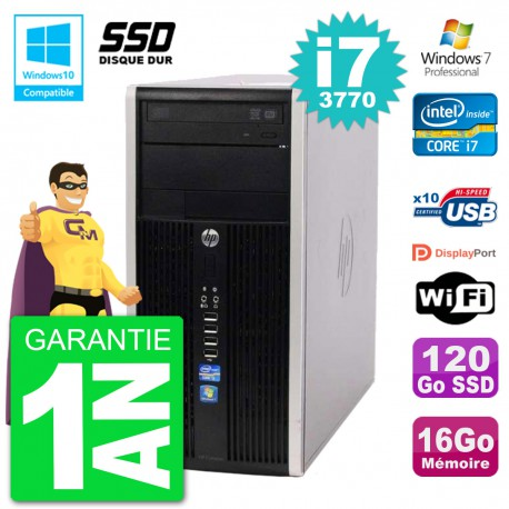 PC HP 6300 MT Intel Core i7-3770 RAM 16Go SSD 120Go Graveur DVD Wifi W7