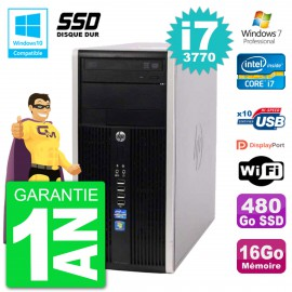 PC HP 6300 MT Intel Core i7-3770 RAM 16Go SSD 480Go Graveur DVD Wifi W7