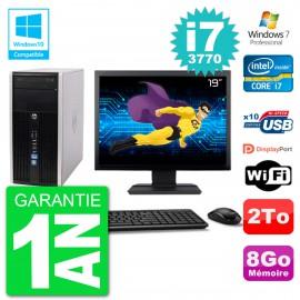 "PC HP 6300 MT Ecran 19"" Core i7-3770 RAM 8Go Disque 2To Graveur DVD Wifi W7"