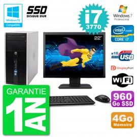 "PC HP 6300 MT Ecran 22"" Core i7-3770 RAM 4Go SSD 960Go Graveur DVD Wifi W7"