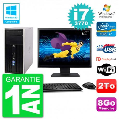 "PC HP 6300 MT Ecran 22"" Core i7-3770 RAM 8Go Disque 2To Graveur DVD Wifi W7"
