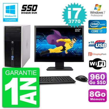 "PC HP 6300 MT Ecran 22"" Core i7-3770 RAM 8Go SSD 960Go Graveur DVD Wifi W7"