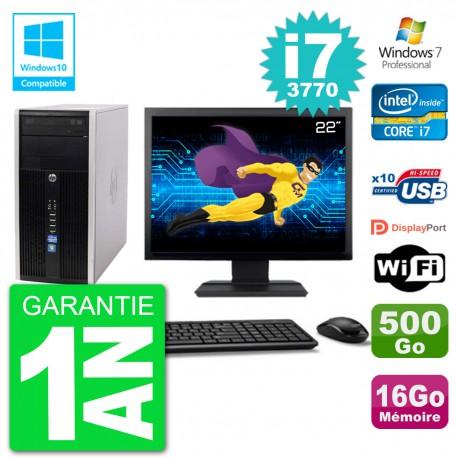 "PC HP 6300 MT Ecran 22"" i7-3770 RAM 16Go Disque 500Go Graveur DVD Wifi W7"