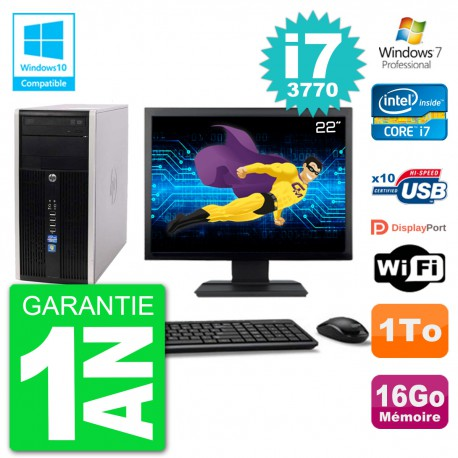 "PC HP 6300 MT Ecran 22"" Core i7-3770 RAM 16Go Disque 1To Graveur DVD Wifi W7"