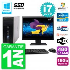 "PC HP 6300 MT Ecran 22"" Core i7-3770 RAM 16Go SSD 480Go Graveur DVD Wifi W7"