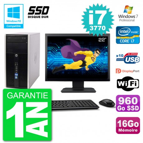 "PC HP 6300 MT Ecran 22"" Core i7-3770 RAM 16Go SSD 960Go Graveur DVD Wifi W7"