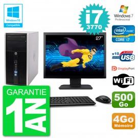 "PC HP 6300 MT Ecran 27"" i7-3770 RAM 4Go Disque 500Go Graveur DVD Wifi W7"