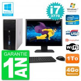 "PC HP 6300 MT Ecran 27"" Core i7-3770 RAM 4Go Disque 1To Graveur DVD Wifi W7"