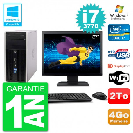 "PC HP 6300 MT Ecran 27"" Core i7-3770 RAM 4Go Disque 2To Graveur DVD Wifi W7"
