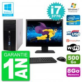 "PC HP 6300 MT Ecran 27"" i7-3770 RAM 8Go Disque 500Go Graveur DVD Wifi W7"