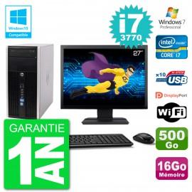 "PC HP 6300 MT Ecran 27"" i7-3770 RAM 16Go Disque 500Go Graveur DVD Wifi W7"