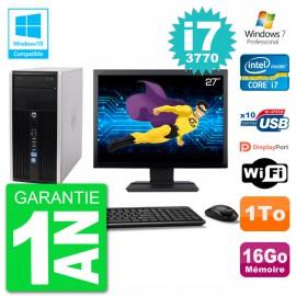 "PC HP 6300 MT Ecran 27"" Core i7-3770 RAM 16Go Disque 1To Graveur DVD Wifi W7"