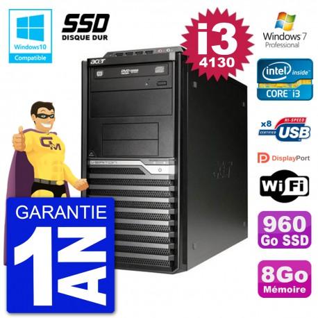 PC Acer Veriton M4630G MT i3-4130 RAM 8Go SSD 960Go Graveur DVD Wifi W7
