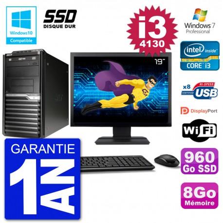 "PC Acer Veriton M4630G MT Ecran 19"" i3-4130 RAM 8Go SSD 960Go DVD Wifi W7"