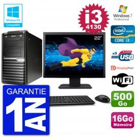 "PC Acer Veriton M4630G MT Ecran 22"" i3-4130 RAM 16Go Disque 500Go DVD Wifi W7"