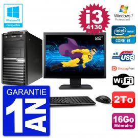 "PC Acer Veriton M4630G MT Ecran 22"" i3-4130 RAM 16Go Disque 2To DVD Wifi W7"