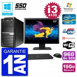 "PC Acer Veriton M4630G MT Ecran 22"" i3-4130 RAM 16Go SSD 960Go DVD Wifi W7"