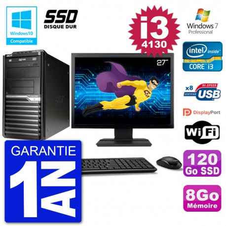 "PC Acer Veriton M4630G MT Ecran 27"" i3-4130 RAM 8Go SSD 120Go DVD Wifi W7"