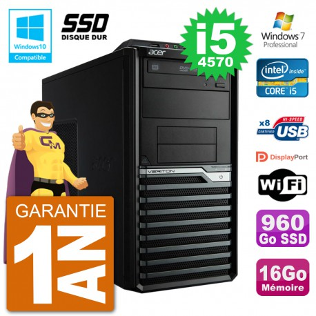 PC Acer Veriton M4630G MT i5-4570 RAM 16Go SSD 960Go Graveur DVD Wifi W7