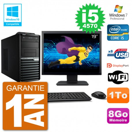 "PC Acer Veriton M4630G MT Ecran 19"" i5-4570 RAM 8Go Disque 1To DVD Wifi W7"