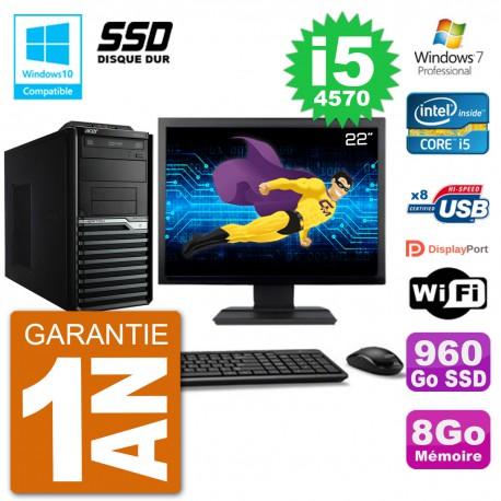 "PC Acer Veriton M4630G MT Ecran 22"" i5-4570 RAM 8Go SSD 960Go DVD Wifi W7"