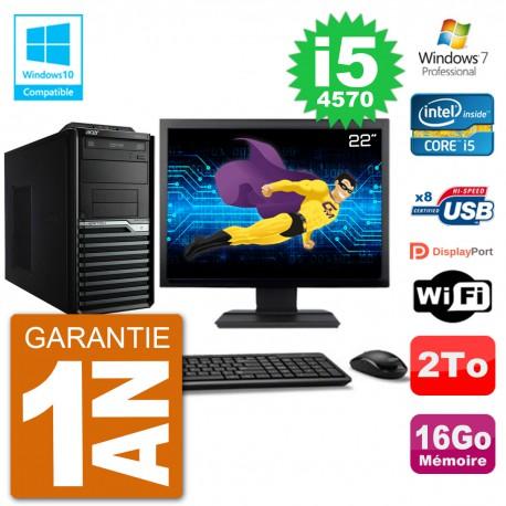 "PC Acer Veriton M4630G MT Ecran 22"" i5-4570 RAM 16Go Disque 2To DVD Wifi W7"