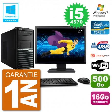 "PC Acer Veriton M4630G MT Ecran 27"" i5-4570 RAM 16Go Disque 500Go DVD Wifi W7"