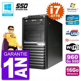 PC Acer Veriton M4630G MT i7-4770 RAM 16Go SSD 960Go Graveur DVD Wifi W7