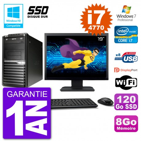 "PC Acer Veriton M4630G MT Ecran 19"" i7-4770 RAM 8Go SSD 120Go DVD Wifi W7"