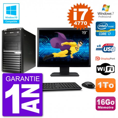 "PC Acer Veriton M4630G MT Ecran 19"" i7-4770 RAM 16Go Disque 1To DVD Wifi W7"
