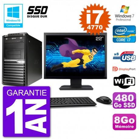 "PC Acer Veriton M4630G MT Ecran 22"" i7-4770 RAM 8Go SSD 480Go DVD Wifi W7"