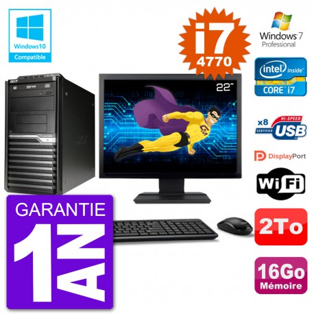 "PC Acer Veriton M4630G MT Ecran 22"" i7-4770 RAM 16Go Disque 2To DVD Wifi W7"